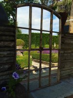 Slow Arch Garden Rustic Factory Window Mirror