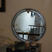 Small Circular Cast Iron Window Frame Mirror