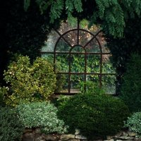 Arch Garden Cast Iron Window Frame Mirror