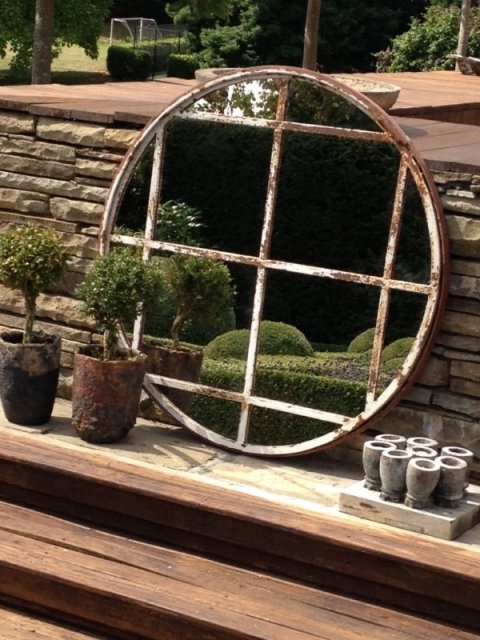 Rare Circular 12 Panel Wrought Iron Window Frame Mirror