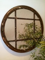 Rare Circular Rustic Reclaimed Window Mirror