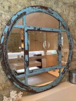 Original Beautiful Blue Rustic Reclaimed Window Mirror