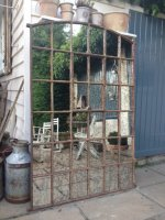 Ex Factory Antique Slow Arch Garden Window Framed Mirror
