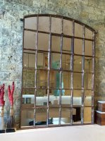 Antique Rustic Slow Arch Window Mirror