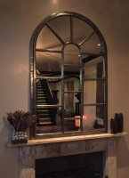 Panelled Full Arch Iron Window Mirror