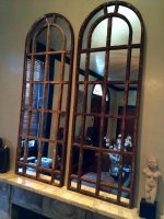 A pair of Slim Arch Architectural Reclaimed Window Mirrors