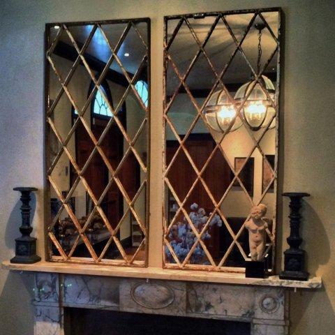 Diamond Design Antique Window Panel Mirror Diamond Window
