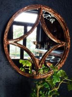 Circular Reclaimed Decorative Window Mirror