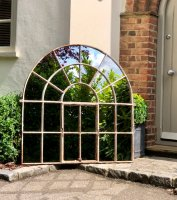 Aged White Rustic Arch Architectural Mirror