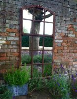 Garden Architectural Rustic Window Mirror