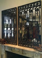 Ornate Ironwork Pair of Decorative Mirrors