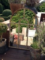Small Cotswold Arch Garden Window Frame Mirror