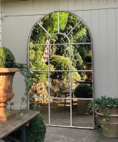 Aged White Architectural Arched Mirror