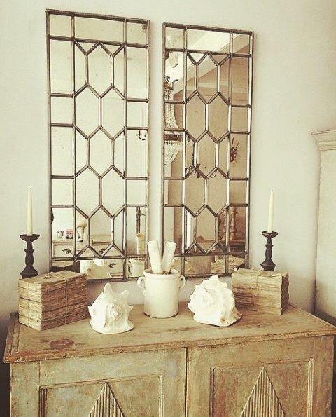 Decorative Pair Of Antique Window Frame Mirror Art Deco