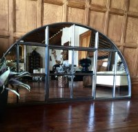 Large Interior Fan Style Restored Window Mirror