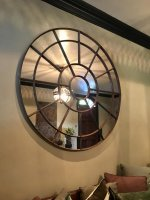 Huge Architectural Circular Rustic Mirror