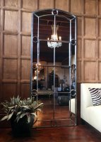 Pair of Tall Architectural Panelled Window Mirrors