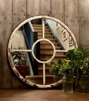 Original Aged White Architectural Panelled Mirror