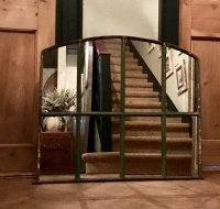 Small Green Rustic Window Mirror