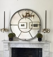 Architectural Panelled Round Window Mirror