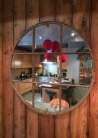 Circular Industrial Window Mirror