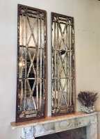 Unique Antique reclaimed Pair of Window Mirrors
