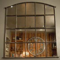 Ex Midlands Stable Holding Arch Cast Iron Window Frame Mirror