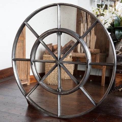 Rare Circular Cast Iron Window Frame Mirror Rare Antique