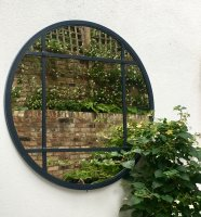 Large Panelled Circular Garden Mirror