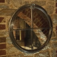 Vintage Small Circular 4 Panel Cast Iron Window Frame Mirror