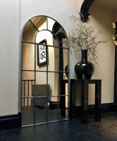 Polished Window Mirror Industrial Arched Ironwork