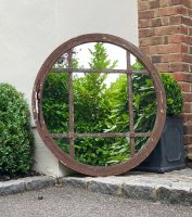 Vintage Circular Rustic Window Mirror