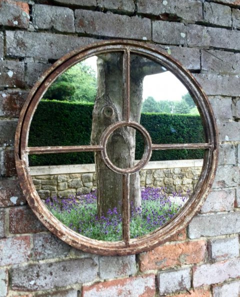 Mirror In Garden: Outside Garden Vintage Rustic Circular Window Mirror