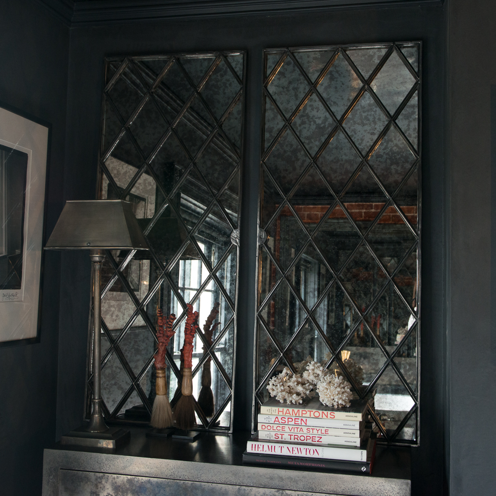 A Pair of Antique Harlequin Cast Iron Window Frame Mirrors ...