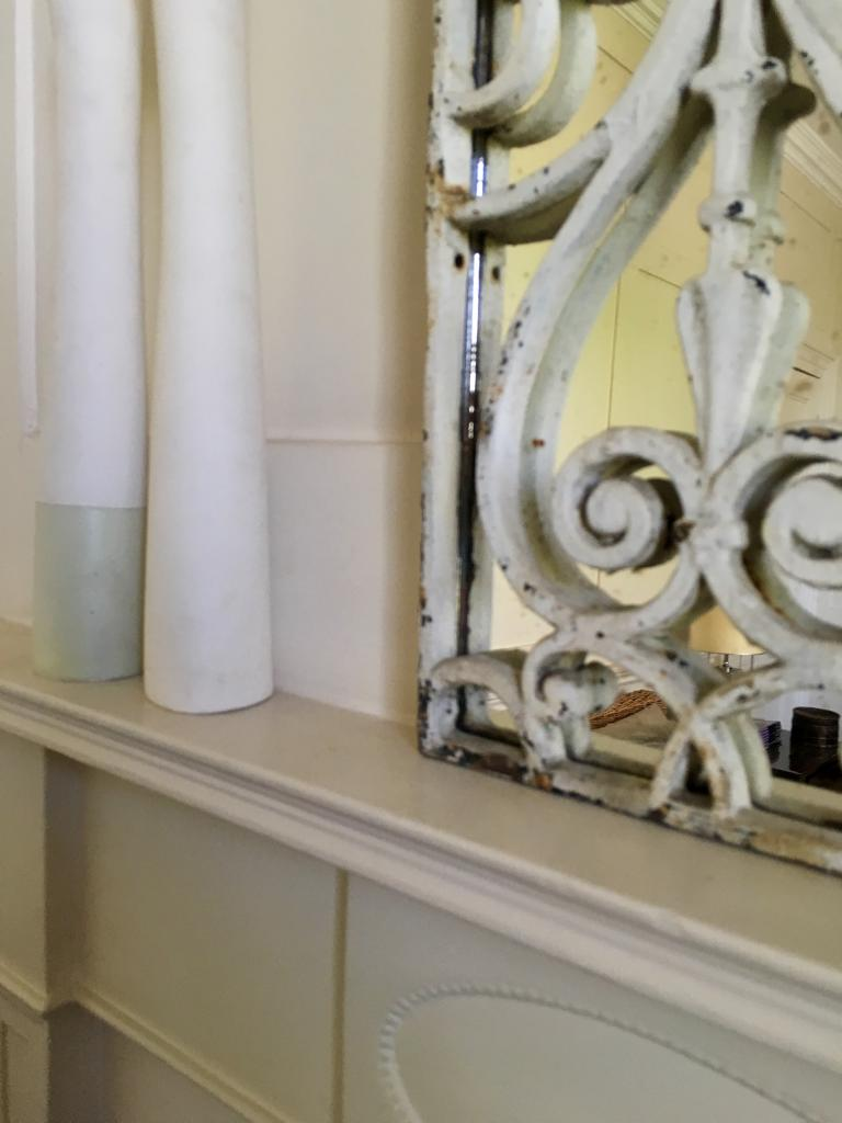 Aged White Original Decorative Mirror Panel french-grille ...