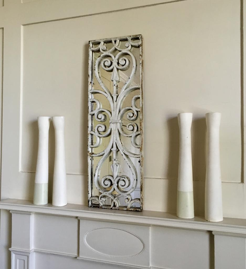 Aged White Original Decorative Mirror Panel French Grille