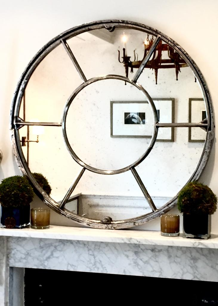 Architectural panelled round window mirror architectura for Mirror that look
