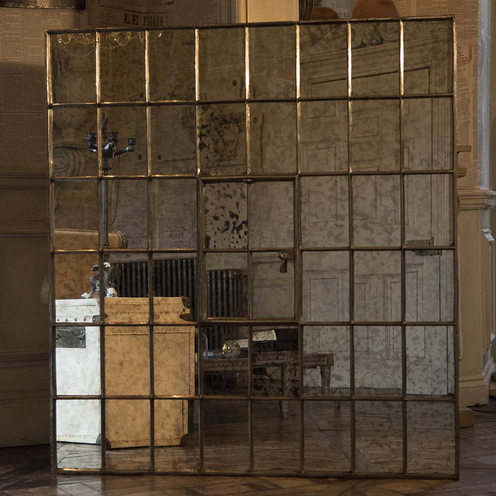 Antique Square Cast Iron Window Frame Mirror Antique