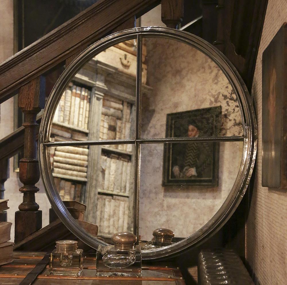Antique Circular Cast Iron Window Frame Mirror Circular