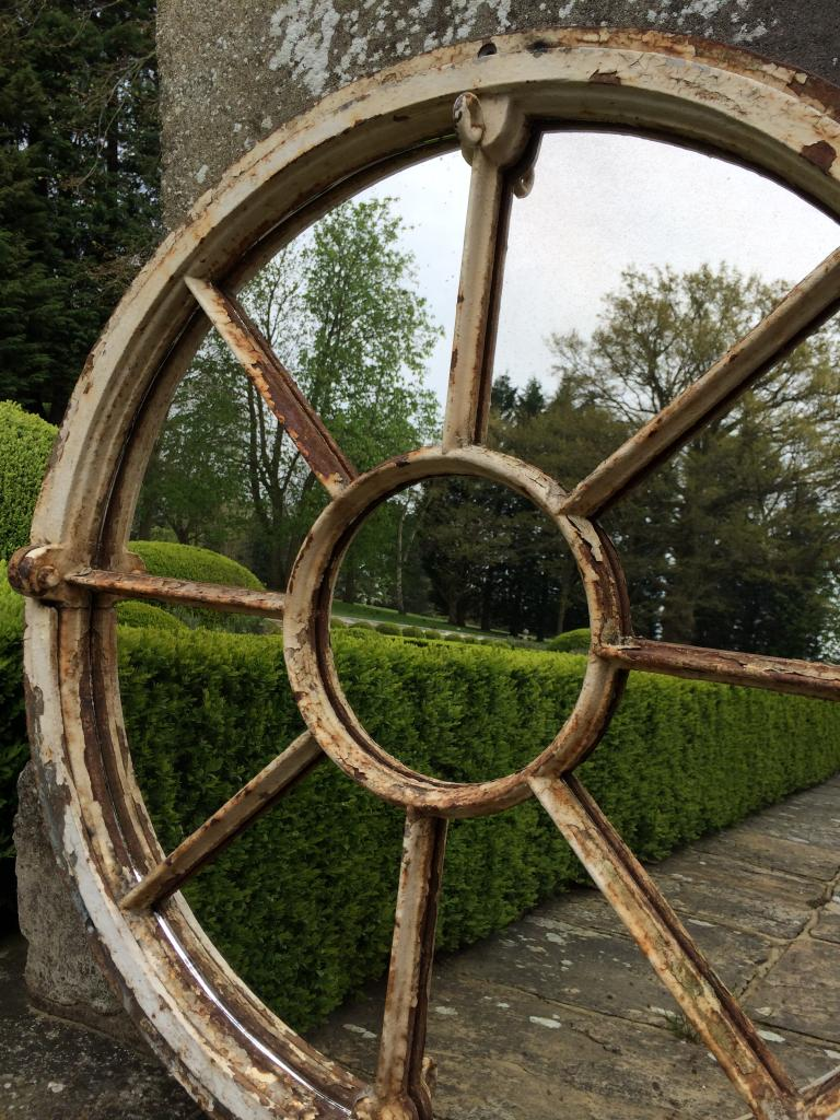 Circular Salvaged Original Window Frame Mirror Circular
