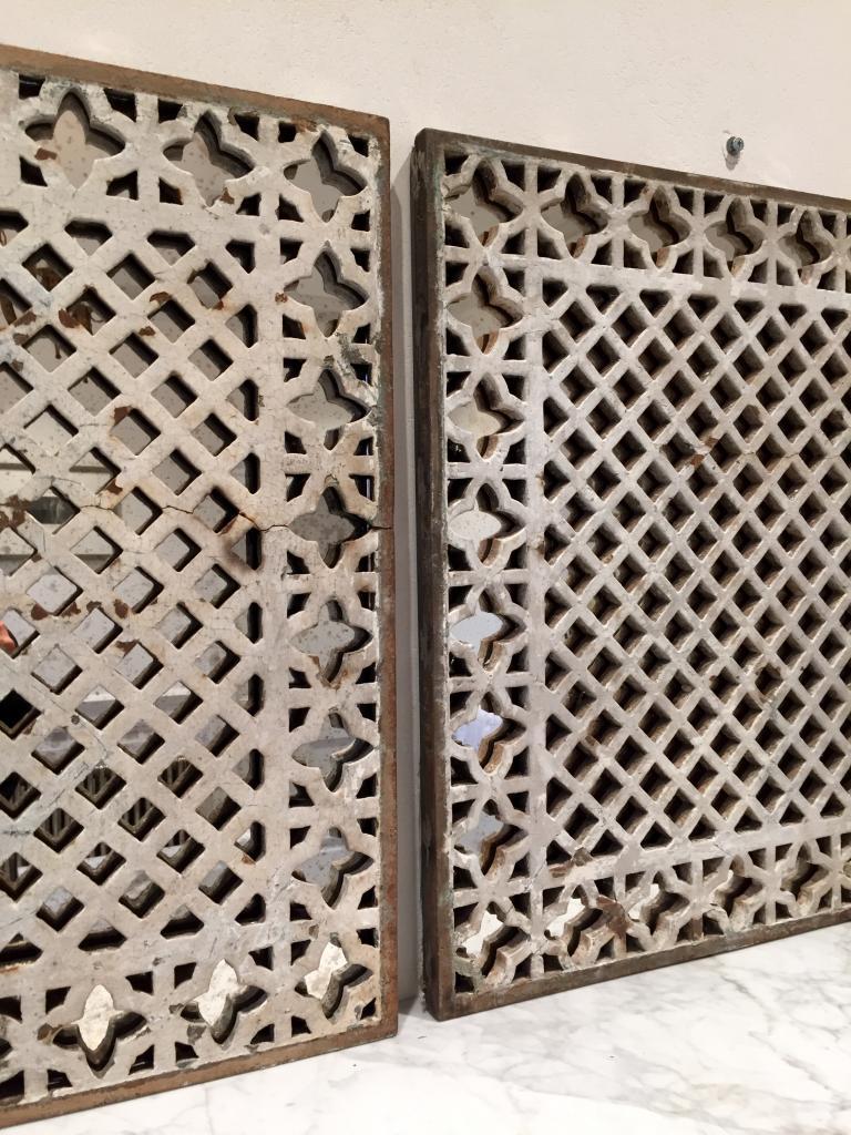 Decorative Pair Of Quatrefoil Design Mirror Panels