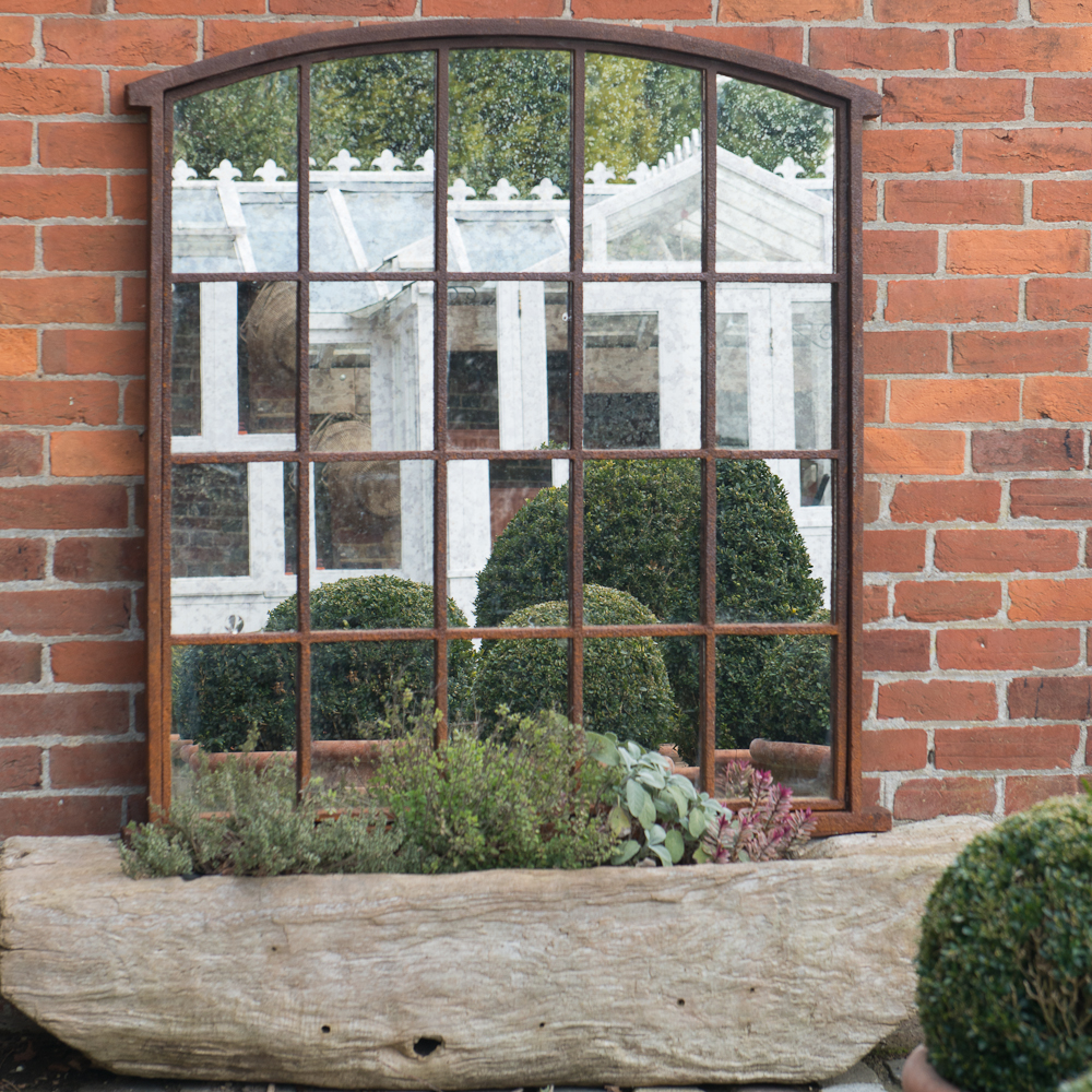 Ex midland hospital vintage garden window frame mirror for Garden window