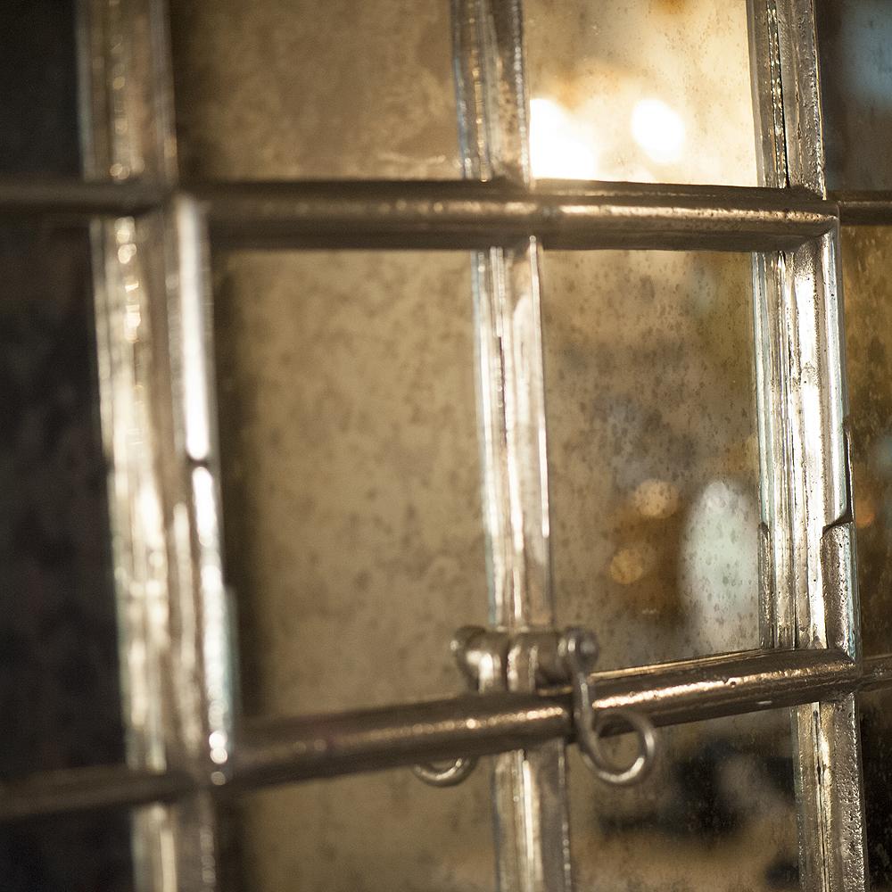 Tall Antique Ex Factory Mill Cast Iron Window Frame Mirror