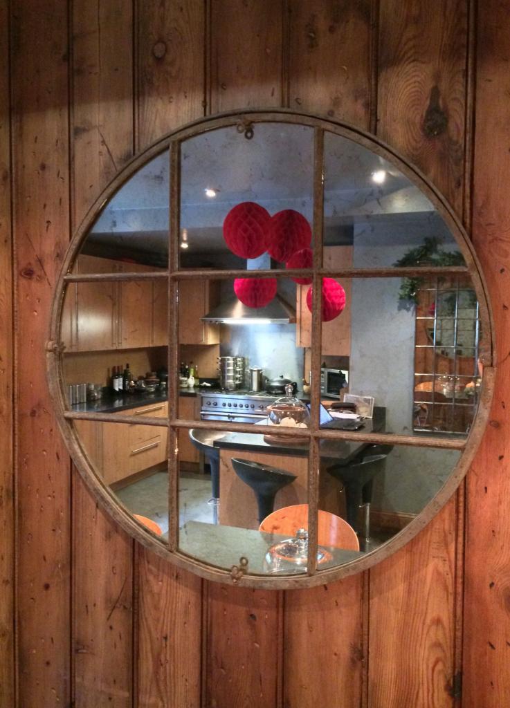 Circular Industrial Window Mirror Circular Antique Rustic