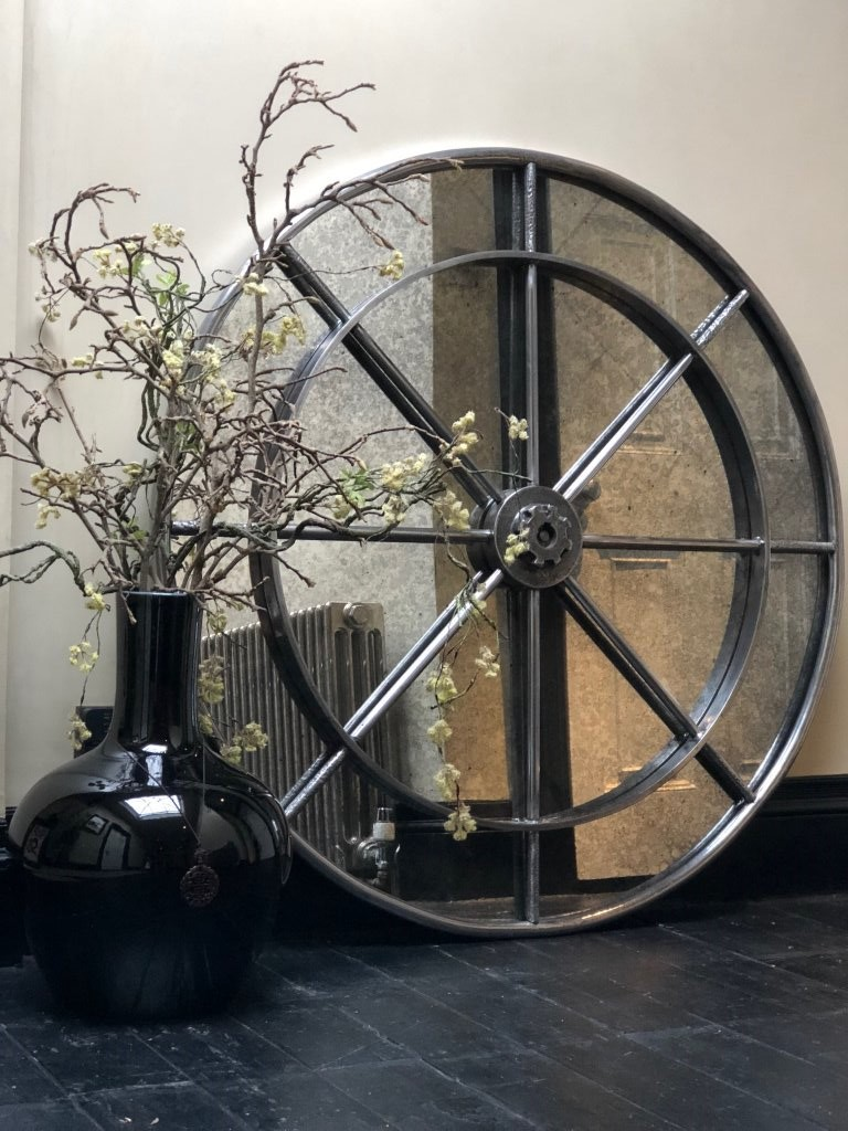Extra Large Industrial Interior Ironwork Circular Mirror