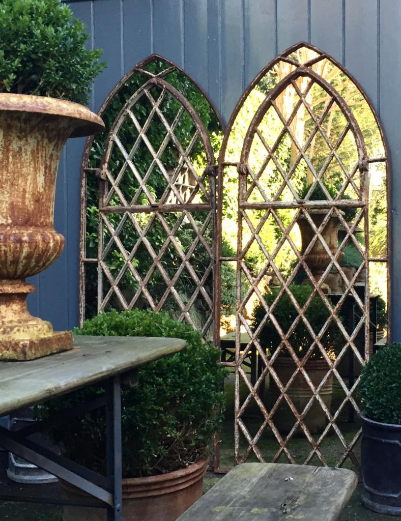 Gothic Garden Arched Diamond Design Window Mirrors Arched