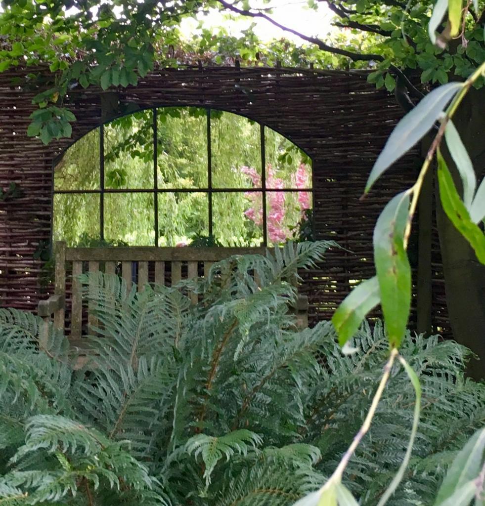Green Rustic Outside Garden Mirror
