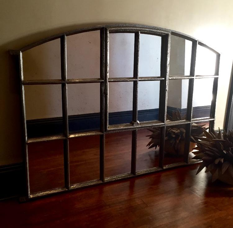 Hand Polished Slow Arch Interior Antique Window Mirror