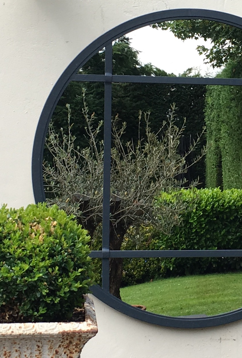 Large Panelled Circular Garden Mirror Bespoke Large