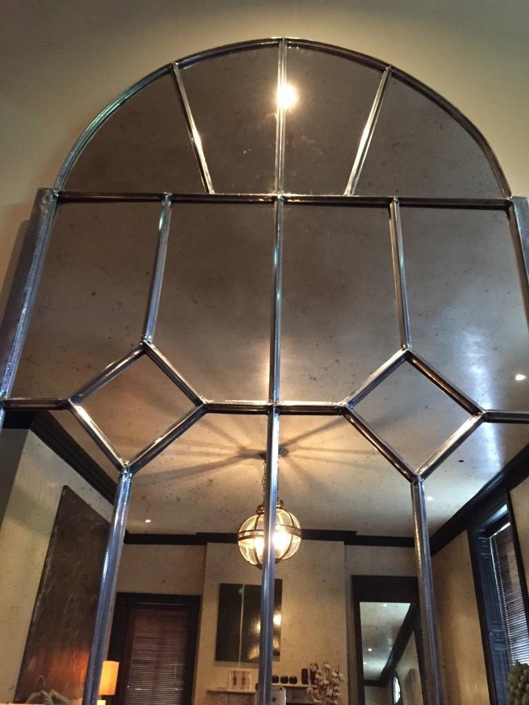 Extra Large Danish Antique Arch Window Mirror Antique